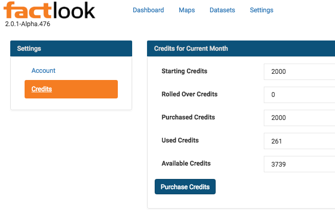 View of a user's available datapoint credits.