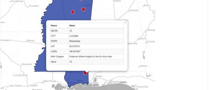 Active chapters of the KKK in Mississippi